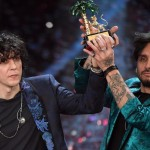 Italian singers Ermal Meta (L) and Fabrizio Moro (R) celebrate on stage  after winning the 68th Sanremo Italian Song Festival in Sanremo, Italy, 10 February 2018. The 68th edition of the television song contest runs from 06 to 10 February.   ANSA/CLAUDIO ONORATI