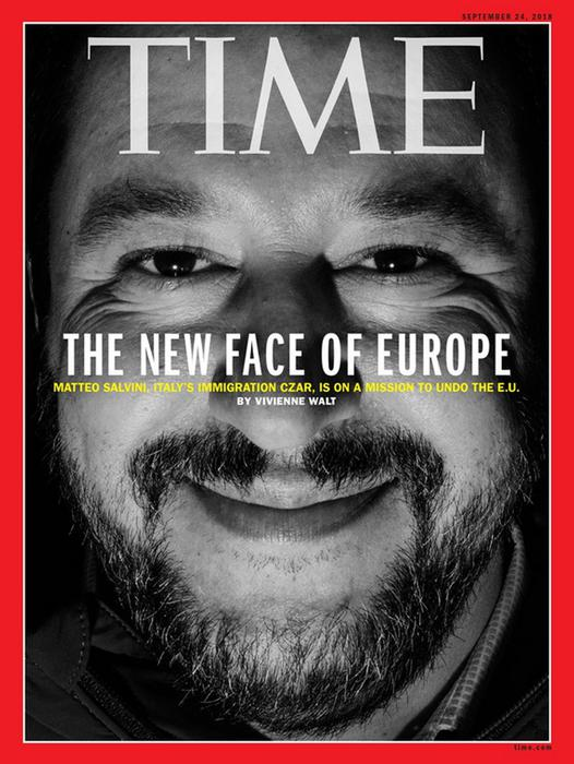 """Salvini in copertina su Time, """"il nuovo volto d'Europa"""""""