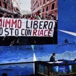 Il conduttore televisivo Fabio Fazio (s) e il sindaco di Riace Mimmo Lucano (d) durante la trasmissione televisiva Che tempo che fa, Milano, 21 Ottobre 2018. ANSA/FLAVIO LO SCALZO