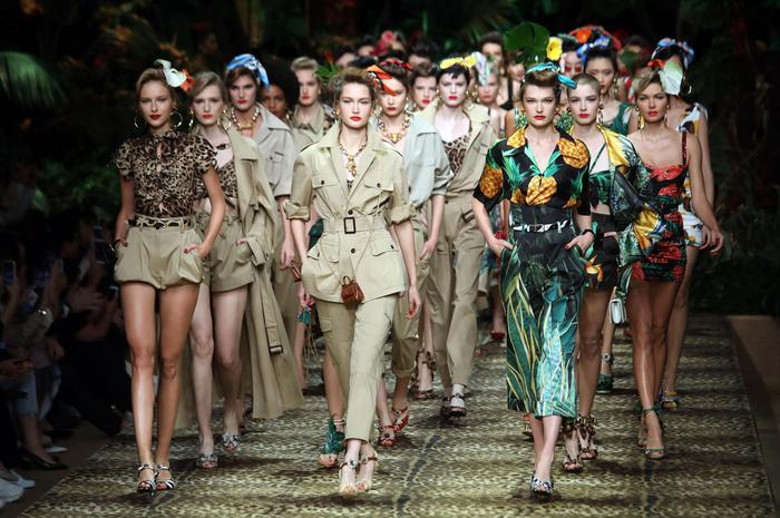Models present creations by Dolce&Gabbana during the Milan Fashion Week, in Milan, Italy, 22 September  2019. The Spring-Summer  2020 Women's collections are presented at the Milano Moda Donna from 17 to 23 September  2019.  ANSA / MATTEO BAZZI