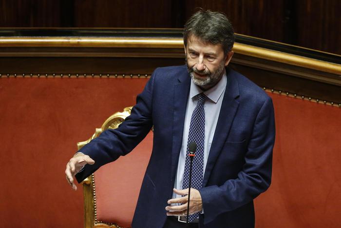 Il ministro delle attività culturali, Dario Franceschini, nell'aula del Senato durante il question time, Roma 30 luglio 2020. ANSA/FABIO FRUSTACI