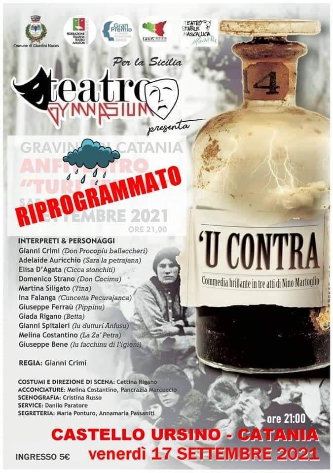 """'U Contra della """"Compagnia Gymnasium Teatro"""" di Giardini Naxos in gara al Gran Premio Teatro Amatoriale"""